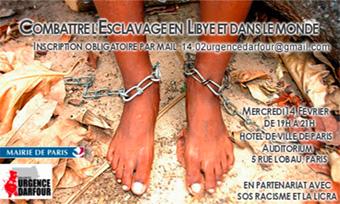Soirée 'Combattre l'esclavage en Libye et dans le monde' le 14 février 2018 à Paris